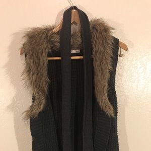 Belted Sweater Vest with Fur Lined Collar